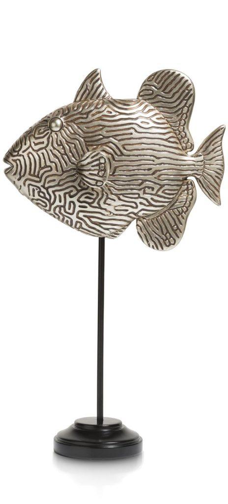 Sculpture décorative poisson en argent