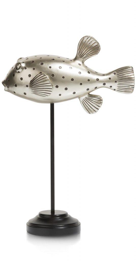 Sculpture décorative poisson-globe en argent