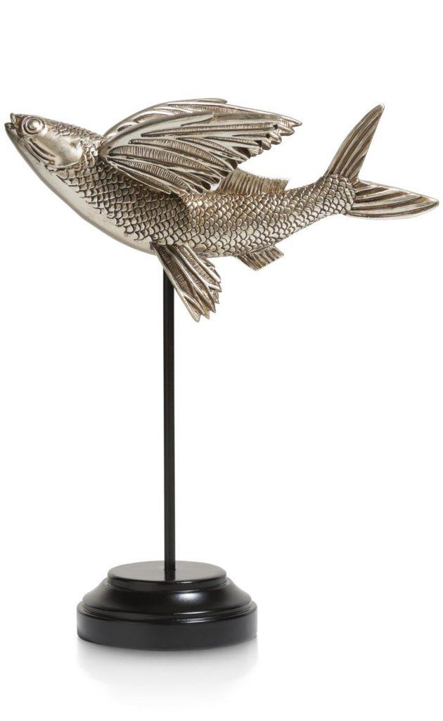 Sculpture décorative poisson volant en argent