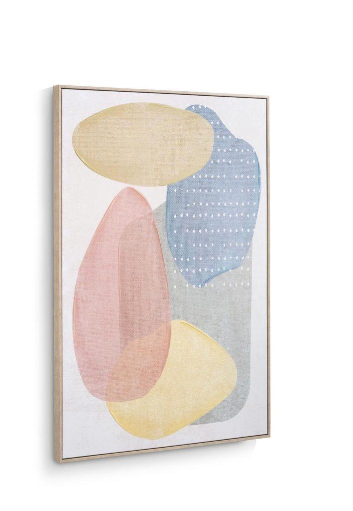 Tableau imprimé sur toile représentant des formes organiques couleurs pastel