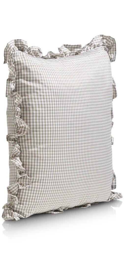 Coussin en tissu à carreaux couleur taupe