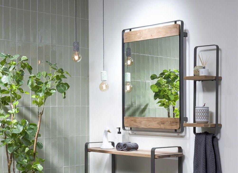 meubles salle de bain bois de kikar naturel et métal anthracite