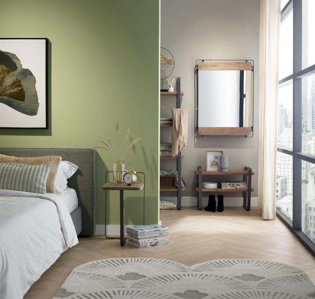 Chambre avec salle de bain ouverte décoration naturelle
