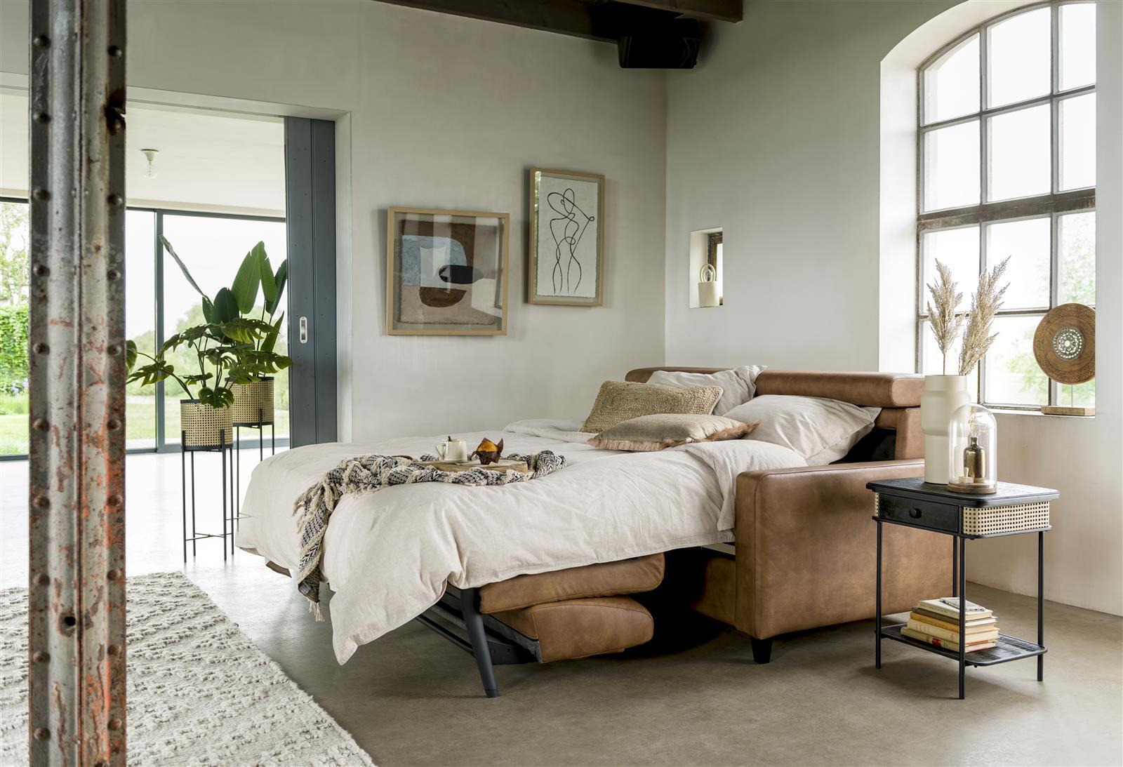 Canapé lit en micro fibre marron