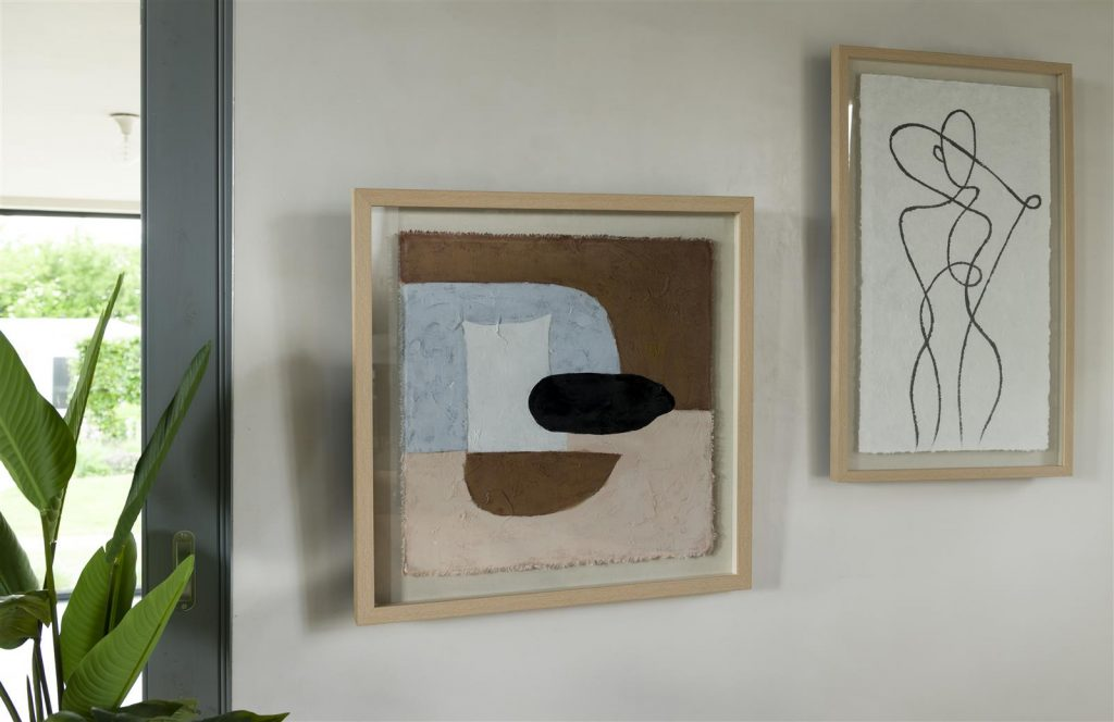 Peinture abstraite sur toile de lin dans cadre en bois de chêne