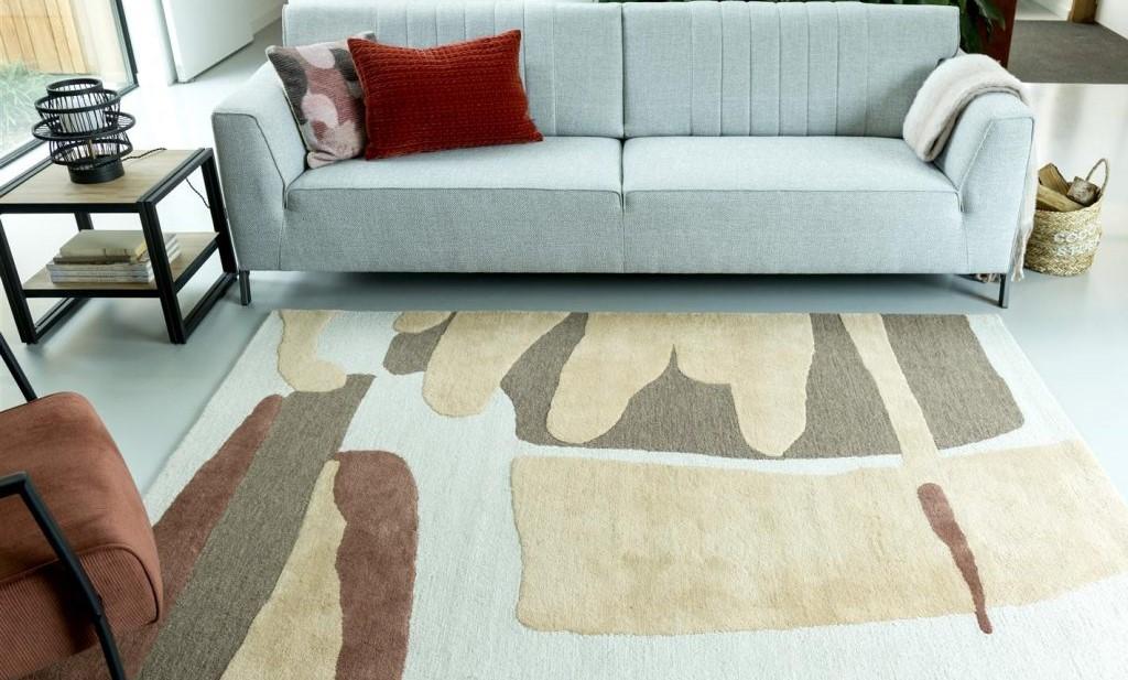 Tapis rectangle en laine beige et terracotta