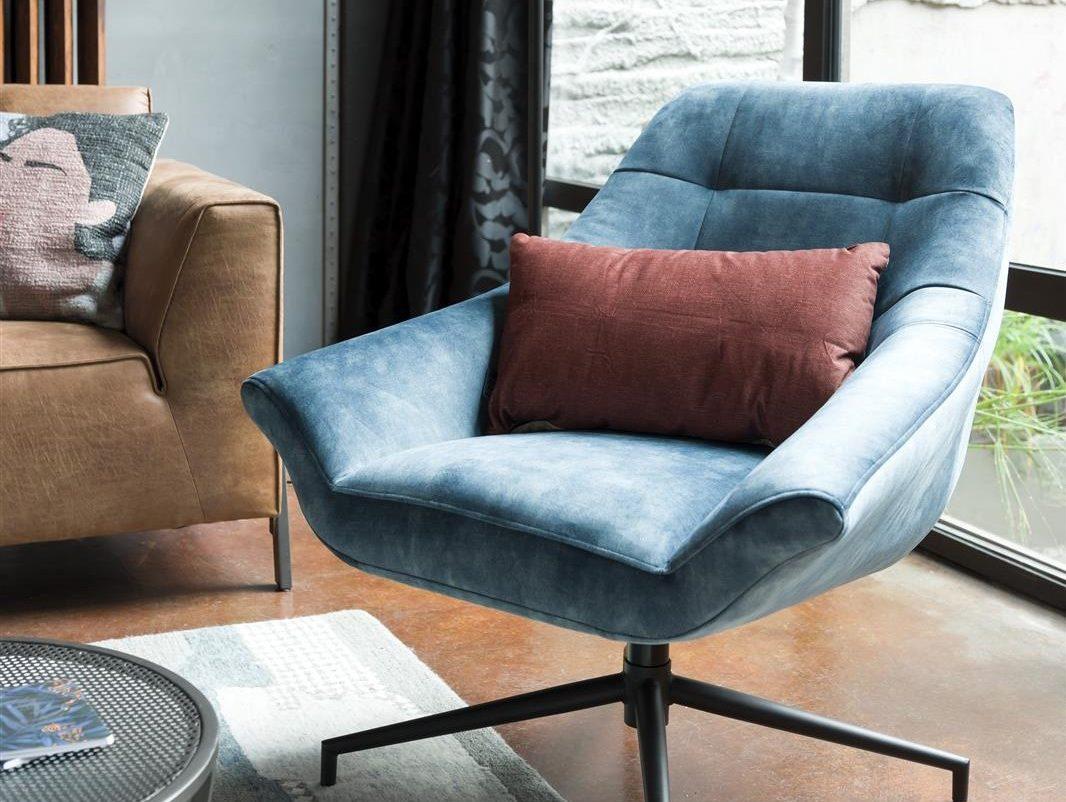 Fauteuil contemporain pivotant en tissu bleu