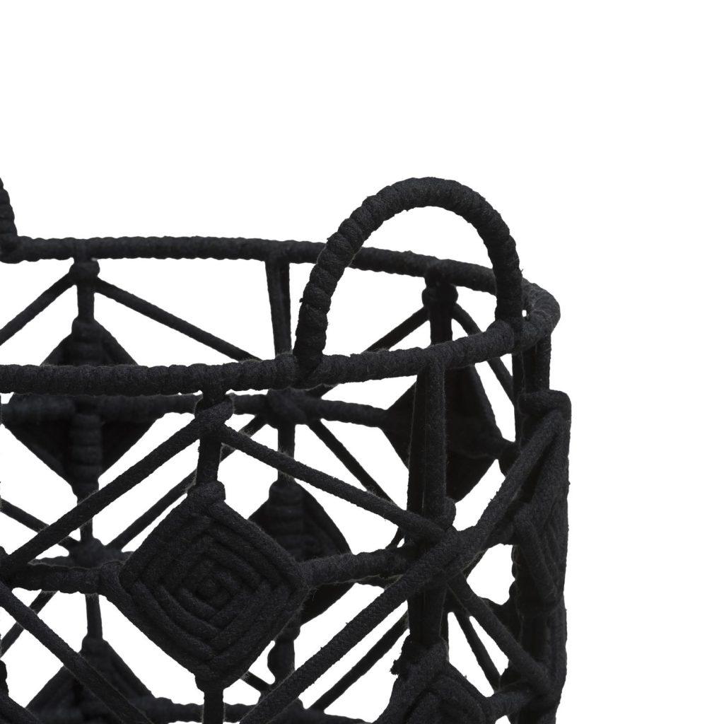 Panières en corde noire style ethnique chic