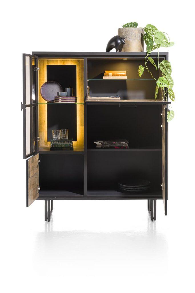 Buffet haut style industriel en bois et métal noir
