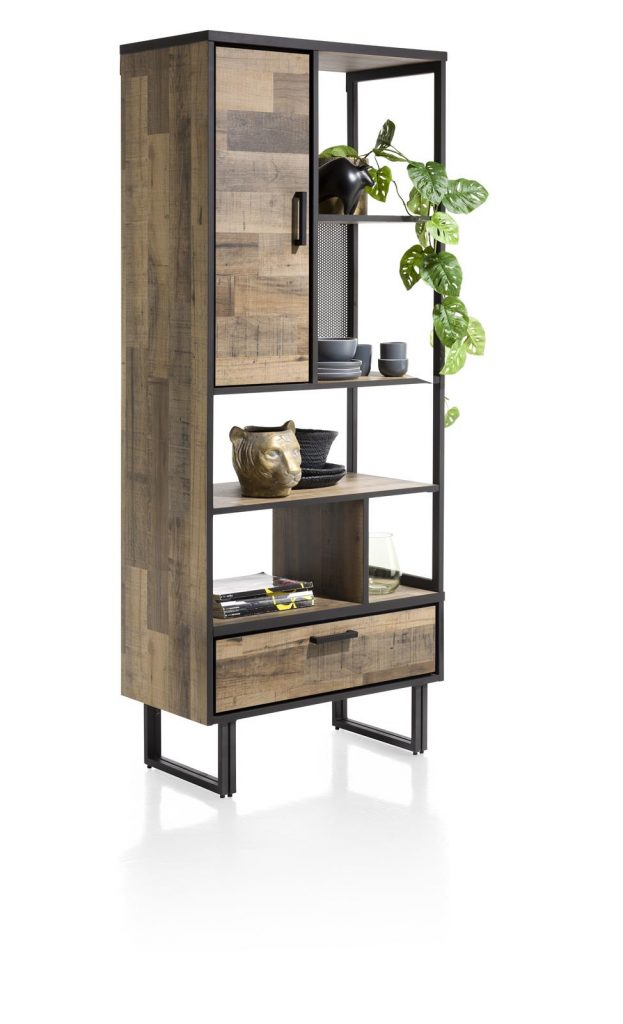 Bibliothèque style industriel en bois et métal noir