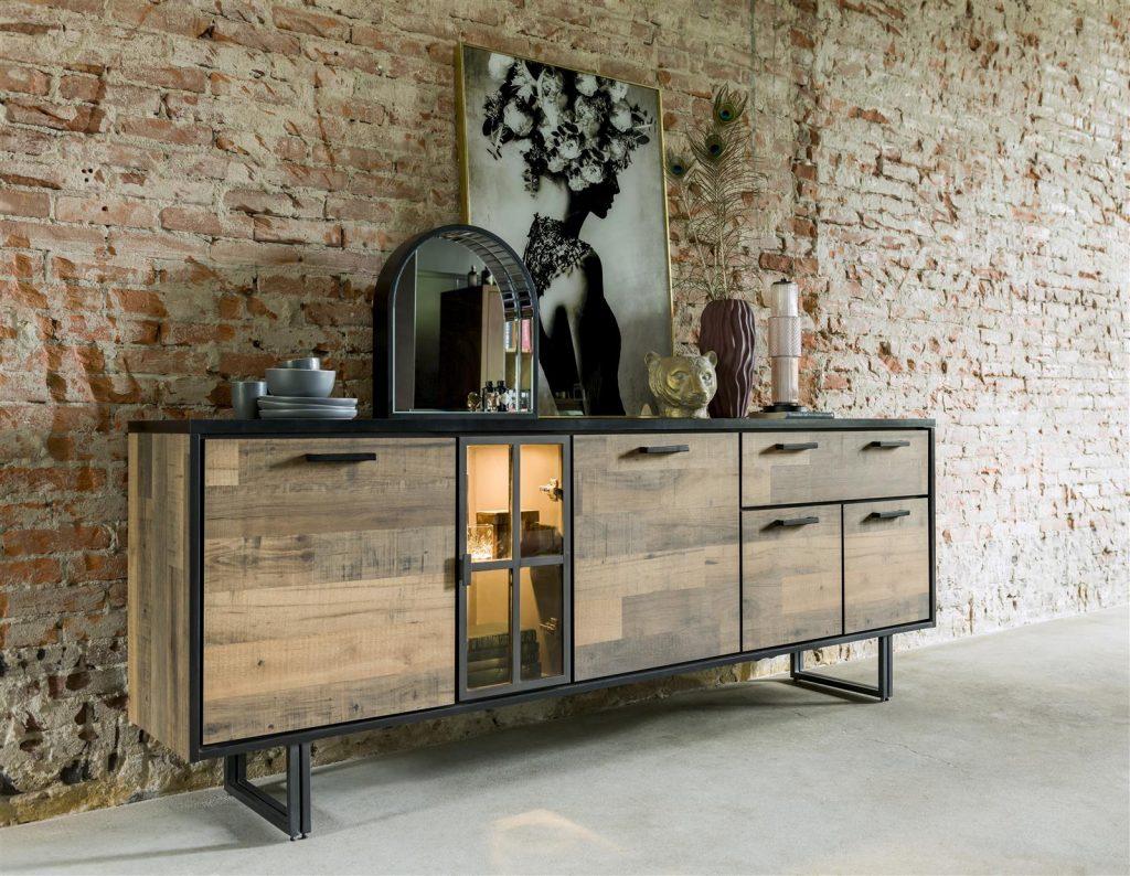 Buffet style industriel en bois et métal avec niches à éclairage LED