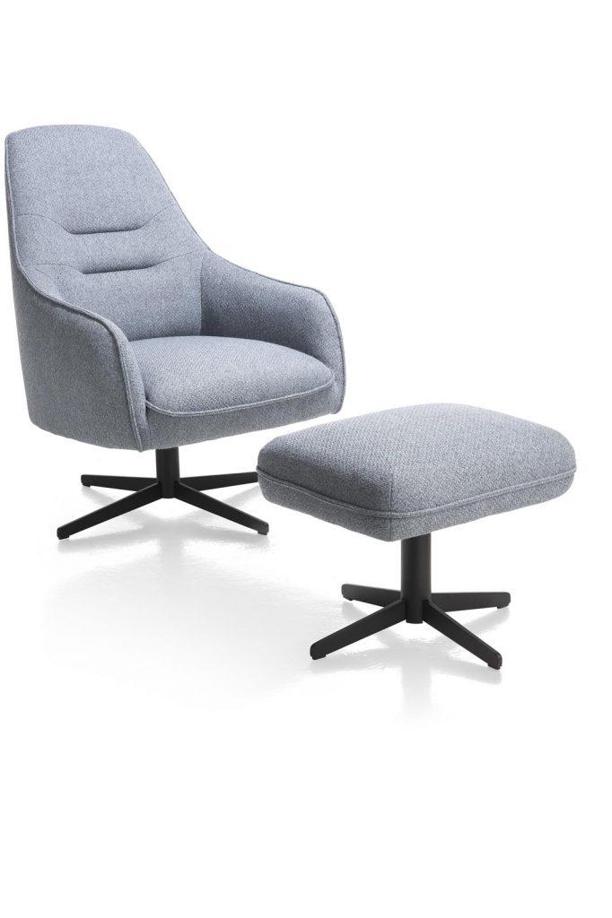 Fauteuil contemporain confortable et pivotant en tissu gris avec pouf