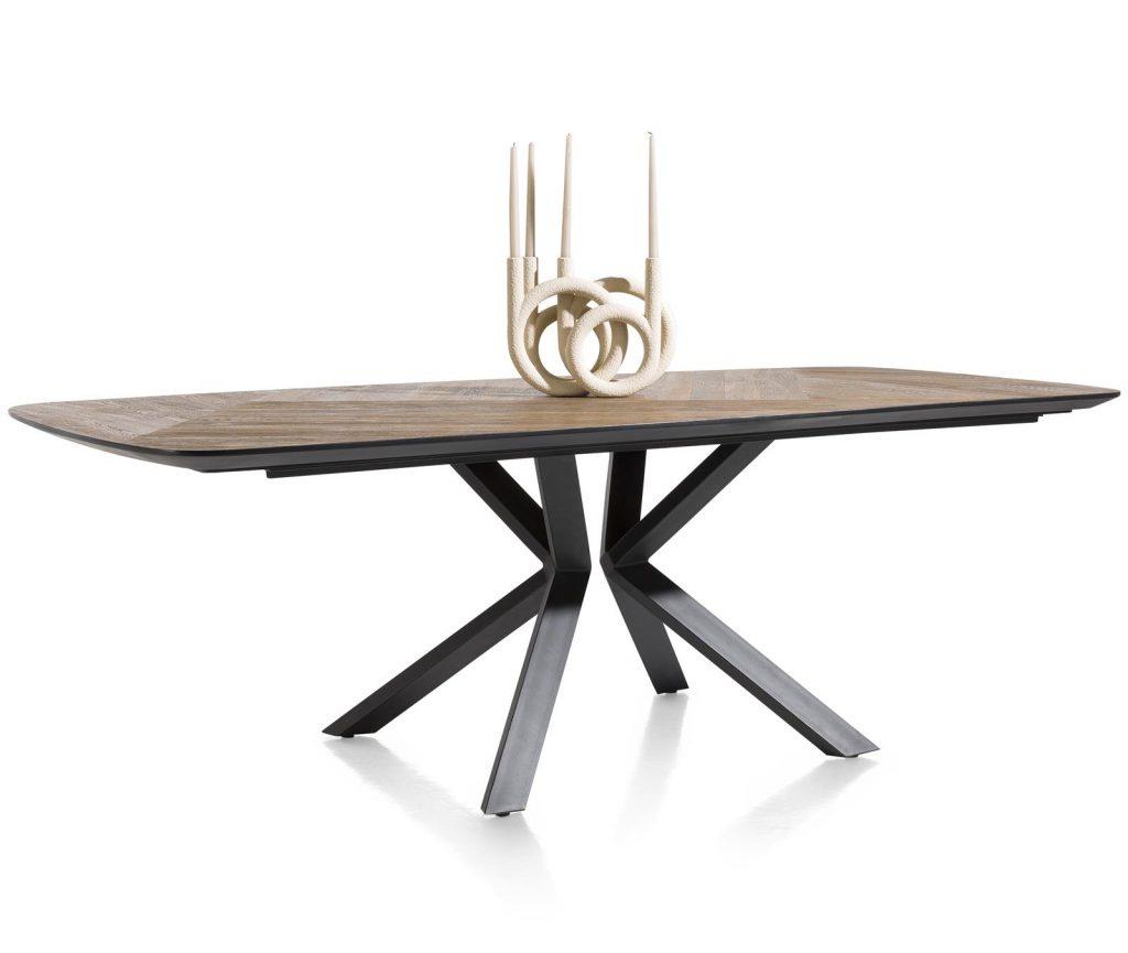 Table à manger familiale et design en bois de chêne et métal noir