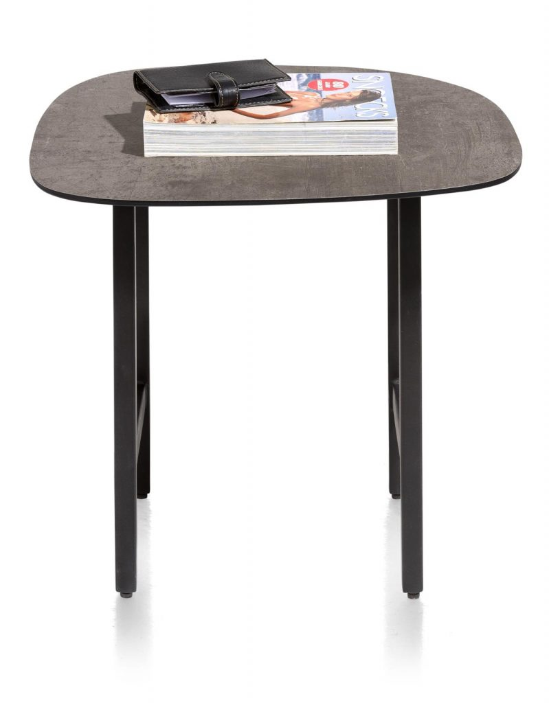 Table d'appoint plateau aspect béton et piétement métallique noir