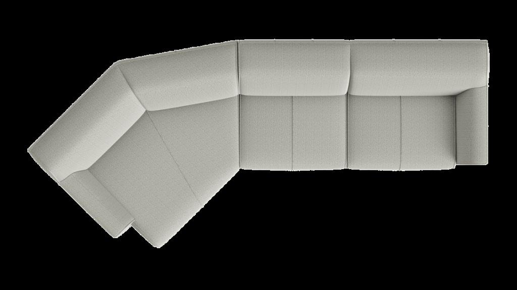 Canapé d'angle en tissu gris avec lounge