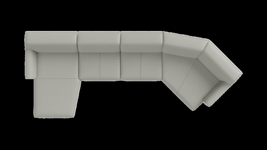 Canapé d'angle en tissu gris avec lounge et méridienne