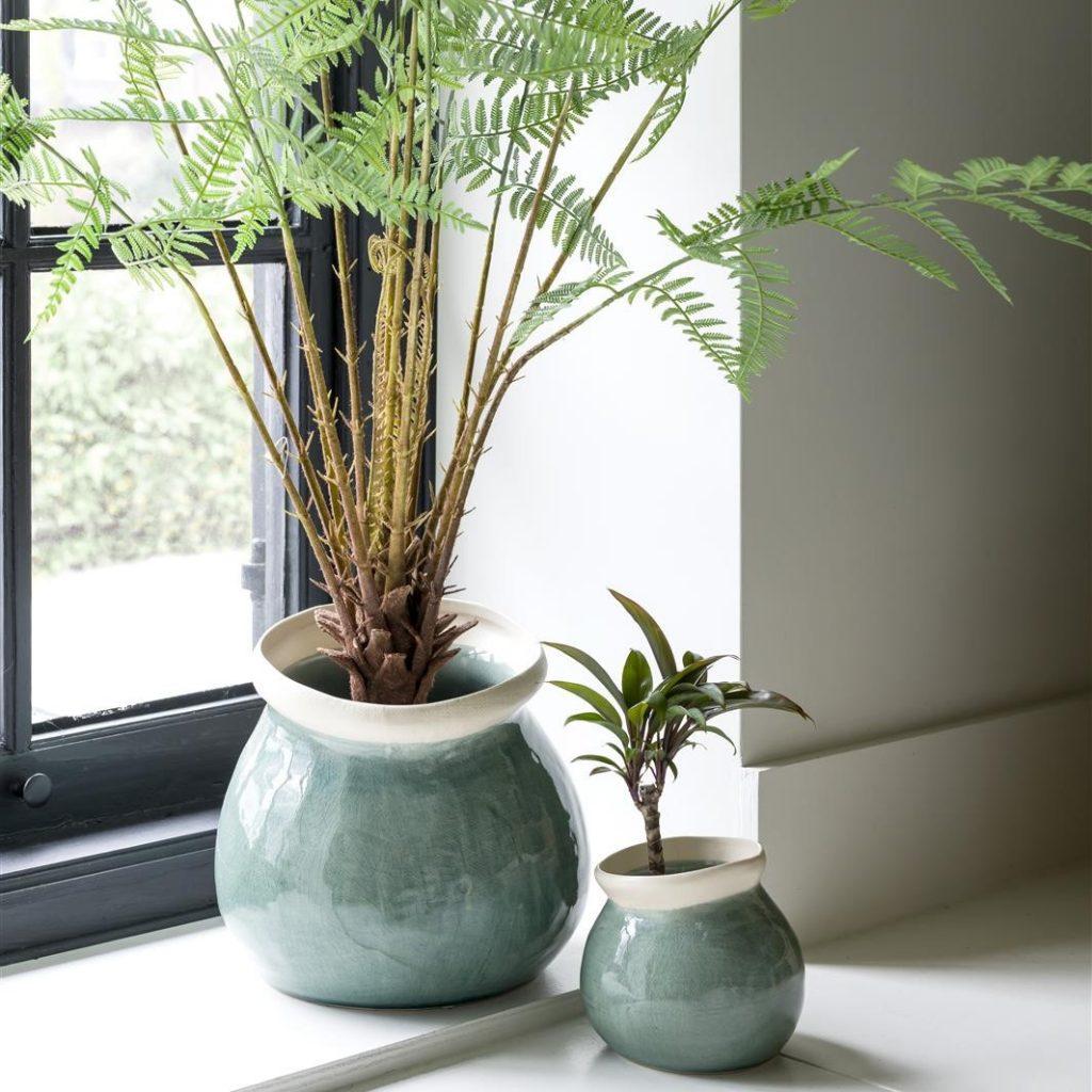 Vases en céramique bleu style naturel