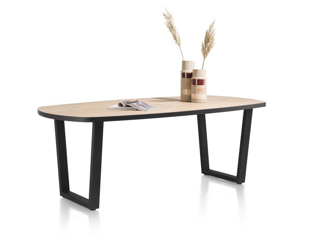 Table à manger ovale plateau bois brut et piétement métal couleur anthracite