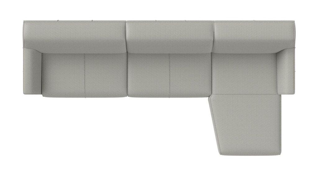 Canapé d'angle en tissu gris avec méridienne