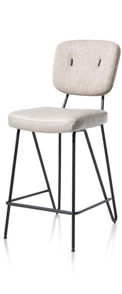 Chaise de bar en tissu gris cosy et minimaliste