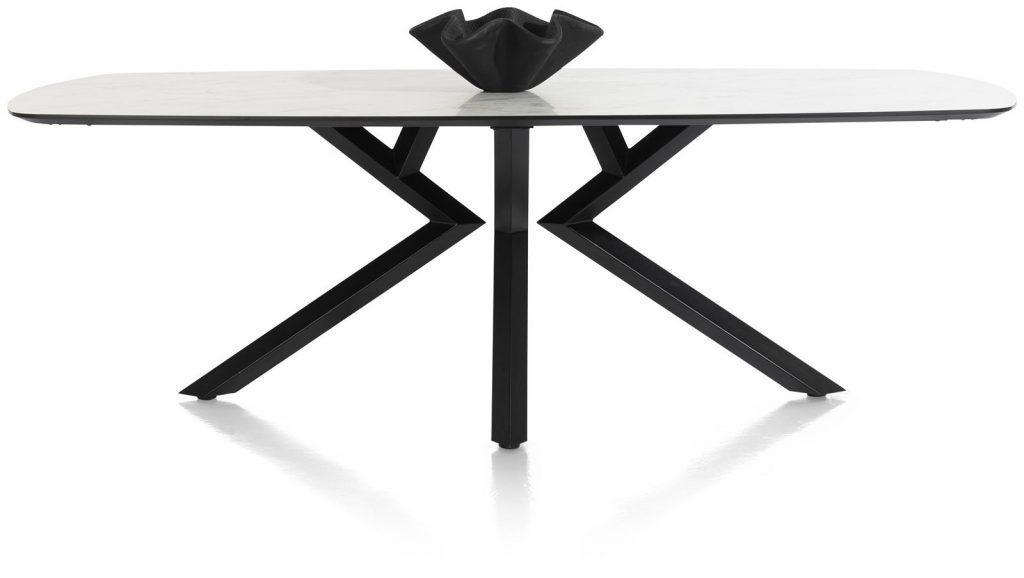 Table à manger design 6 à 8 personnes en marbre blanc et métal