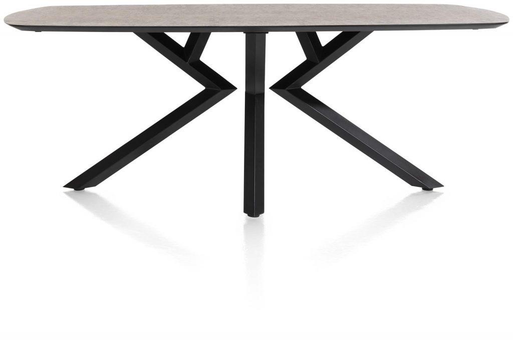 Table à manger design 6 à 8 personnes couleur anthracite et métal noir