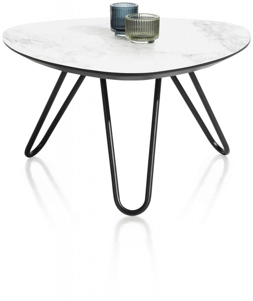 Table basse scandinave et contemporaine plateau marbre blanc