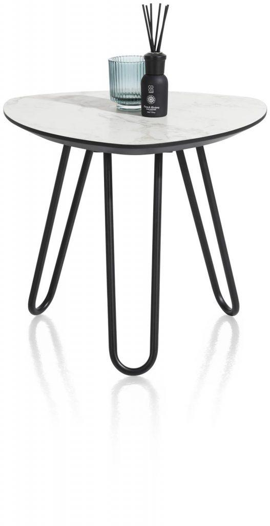 Table d'appoint scandinave et contemporaine effet marbre blanc