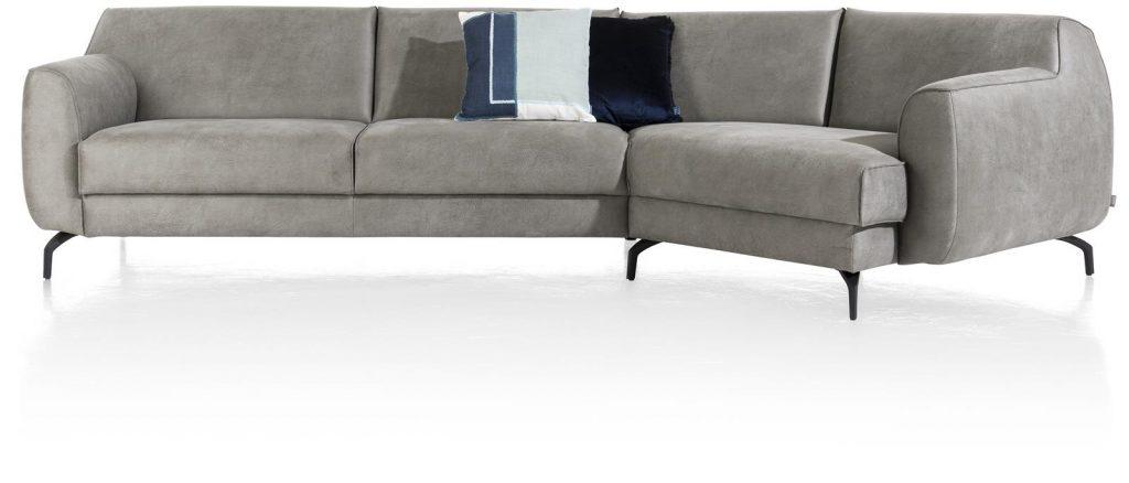 Canapé d'angle en tissu gris clair avec lounge