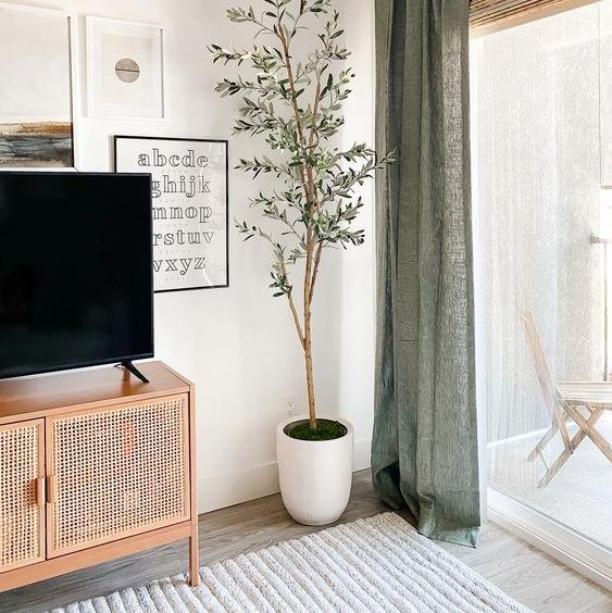 Meuble TV tissage canné