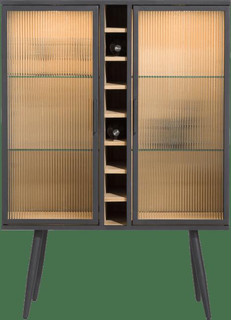 Vitrine armoire à vin en bois et métal