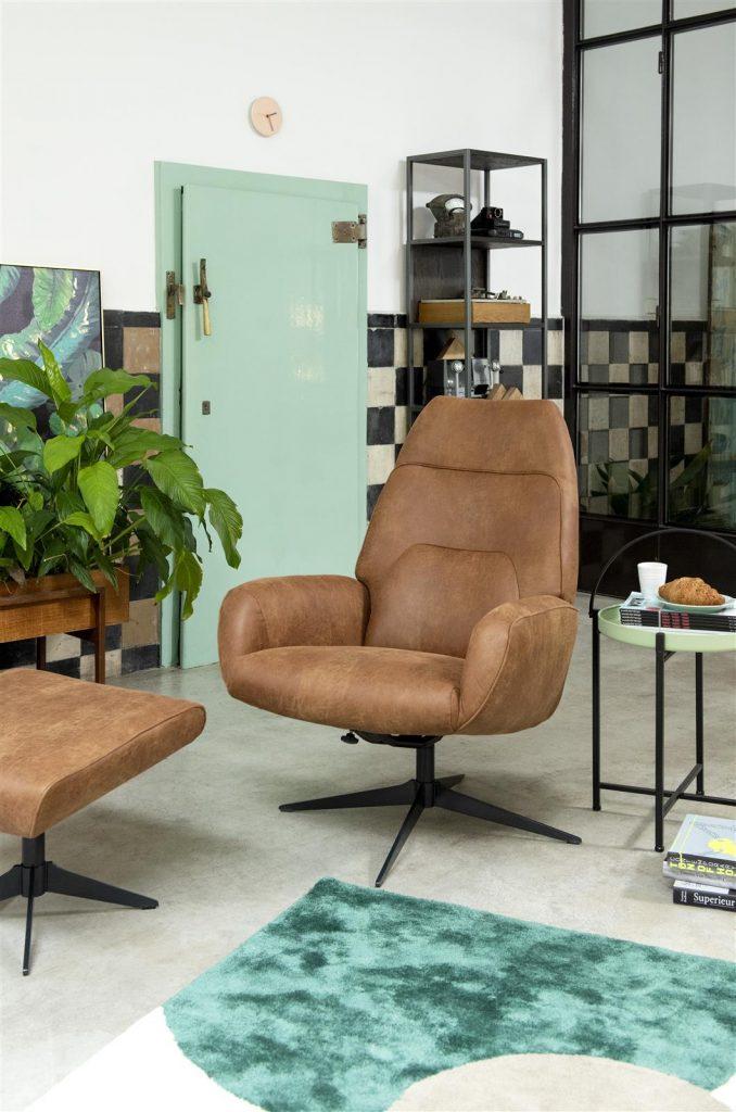 Fauteuil de relaxation contemporain en cuir marron