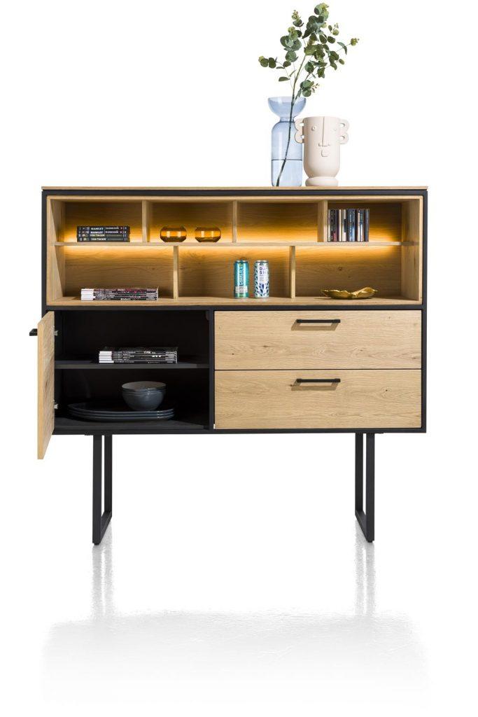 Dressette en bois de chêne et métal noir avec éclairage LED intégré