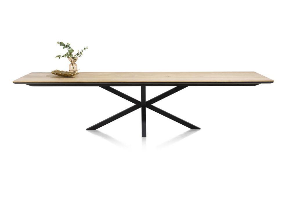 Grande table à manger contemporaine et industrielle bois de chêne claire