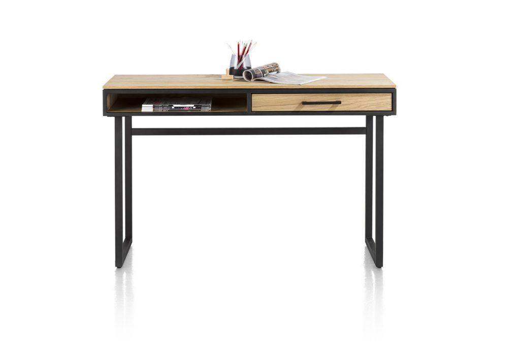 Console industrielle en bois et métal