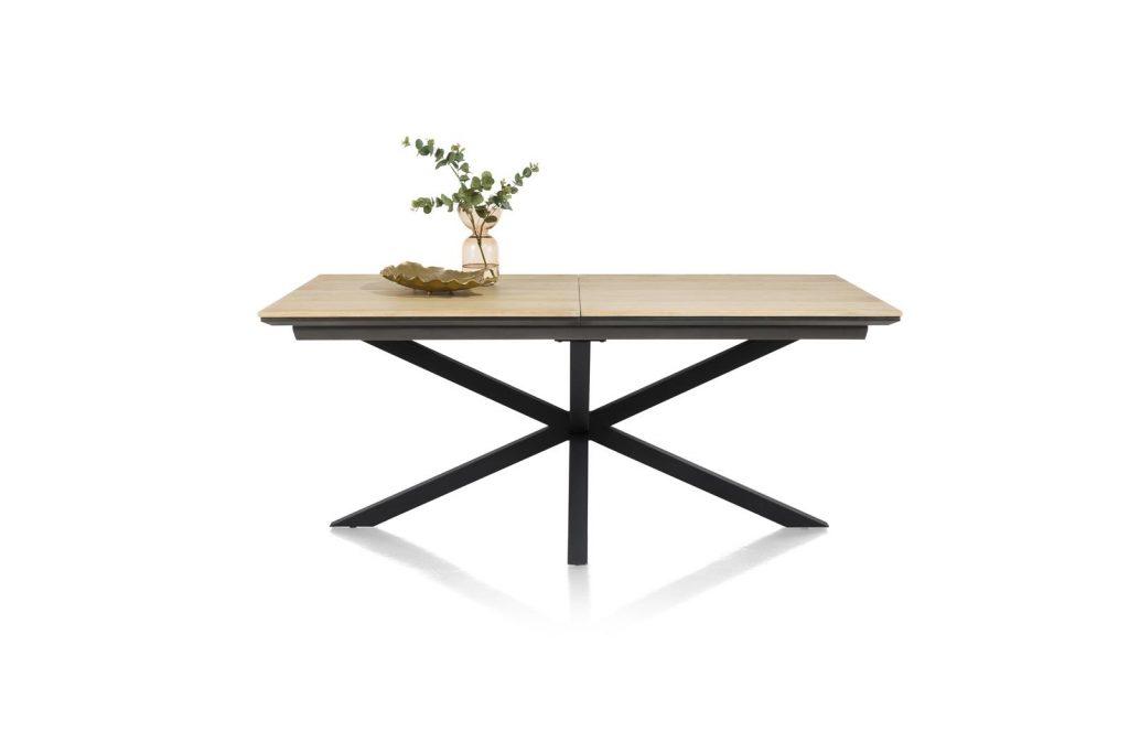 Table à rallonge contemporaine et industrielle bois de chêne claire