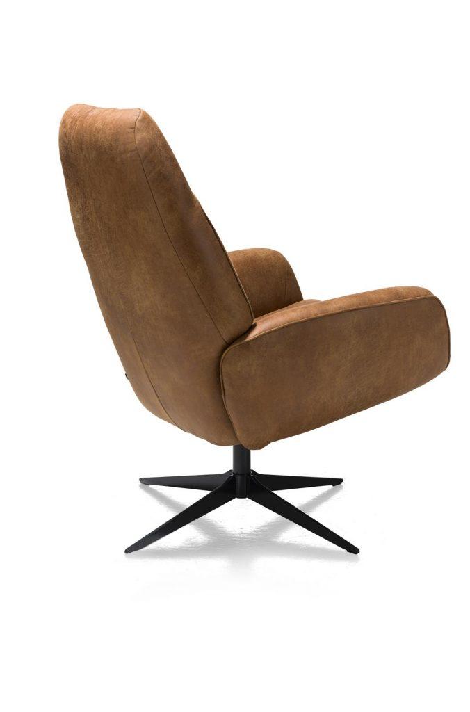 Fauteuil de relaxation pivotant en cuir marron