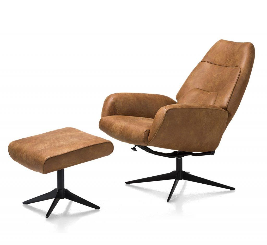 Fauteuil de relaxation moderne avec pouf en cuir marron