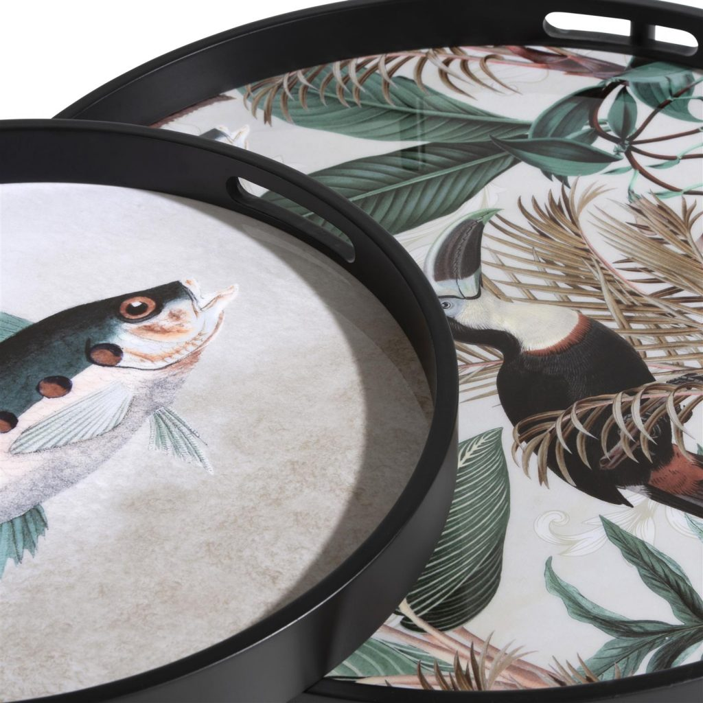 Bout de canapé métal noir motifs jungle