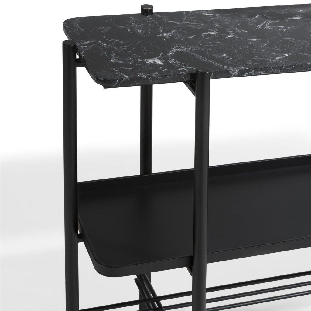 Console moderne en métal et marbre noir