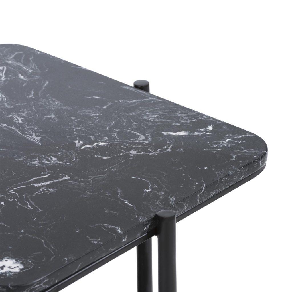 Bout de canapé moderne en métal et marbre noir