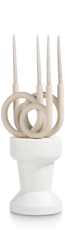 Tabouret décoratif blanc en polyrésine
