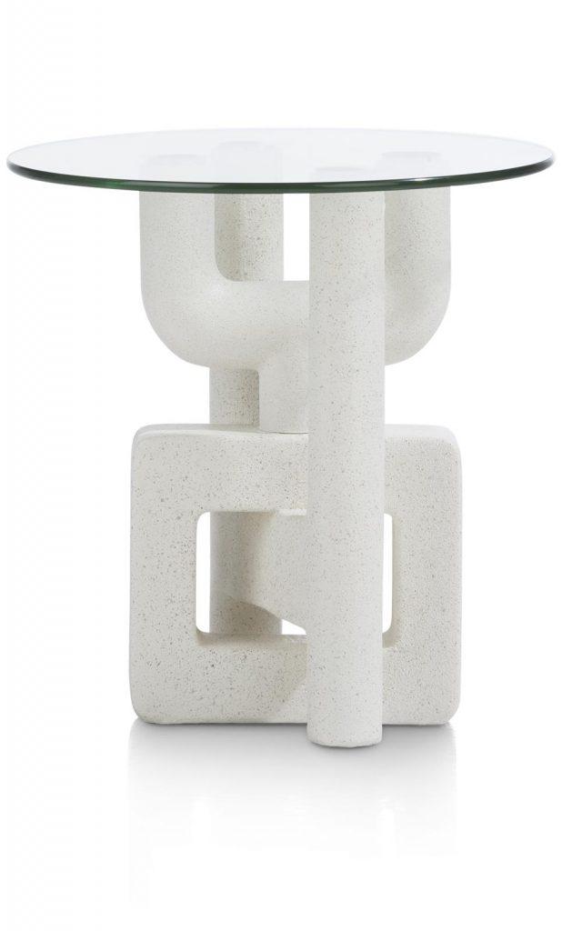 Bout de canapé original avec piétement design et plateau en verre