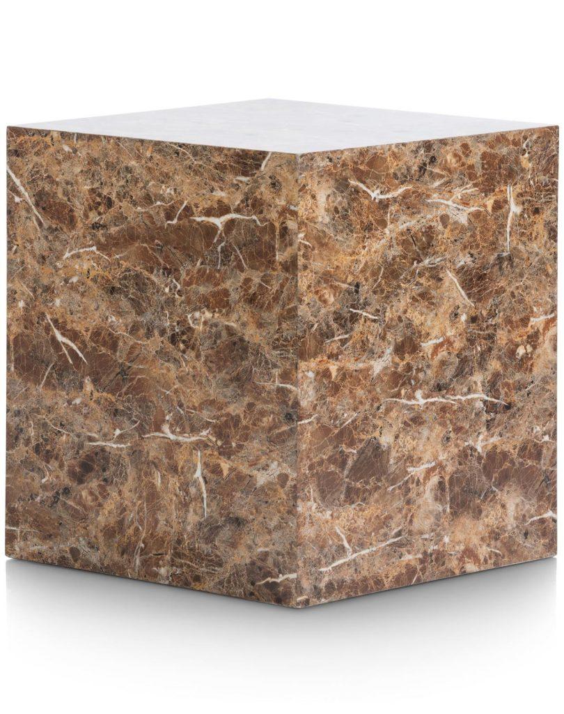 Bout de canapé décoratif bloc de marbre marron