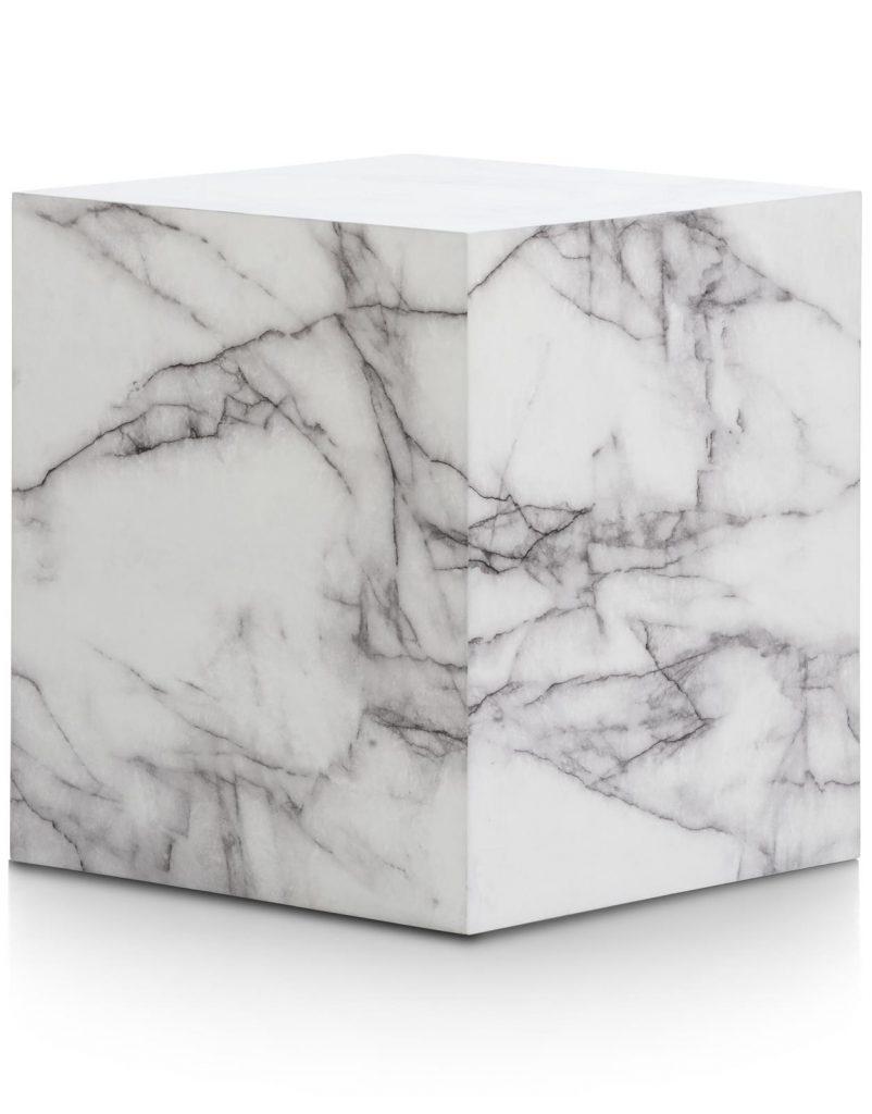 Bout de canapé décoratif bloc de marbre blanc