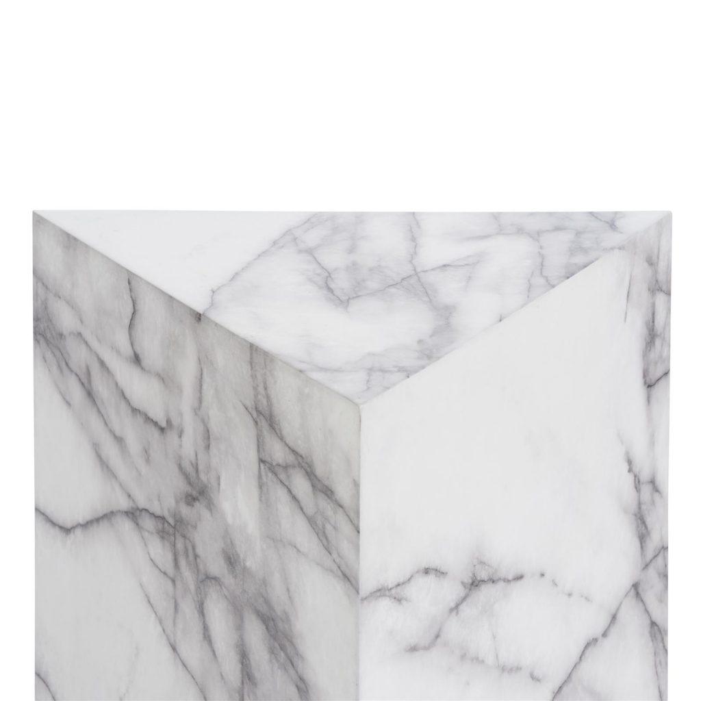 Colonne décorative bloc de marbre blanc