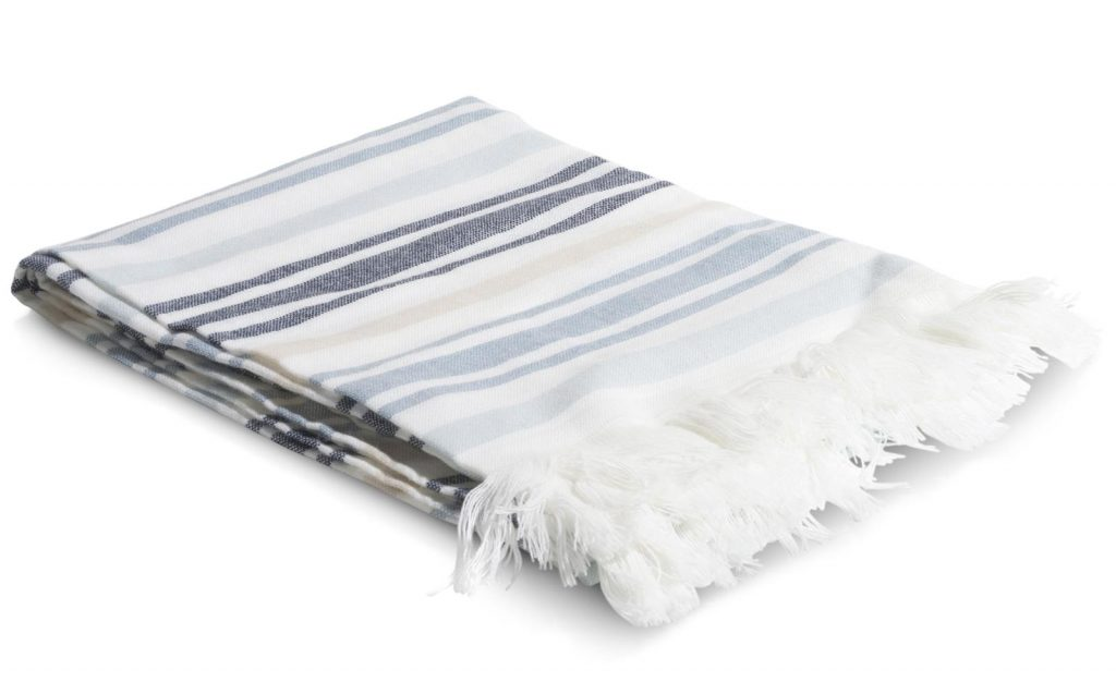 Plaid à franges en tissu bleu et blanc