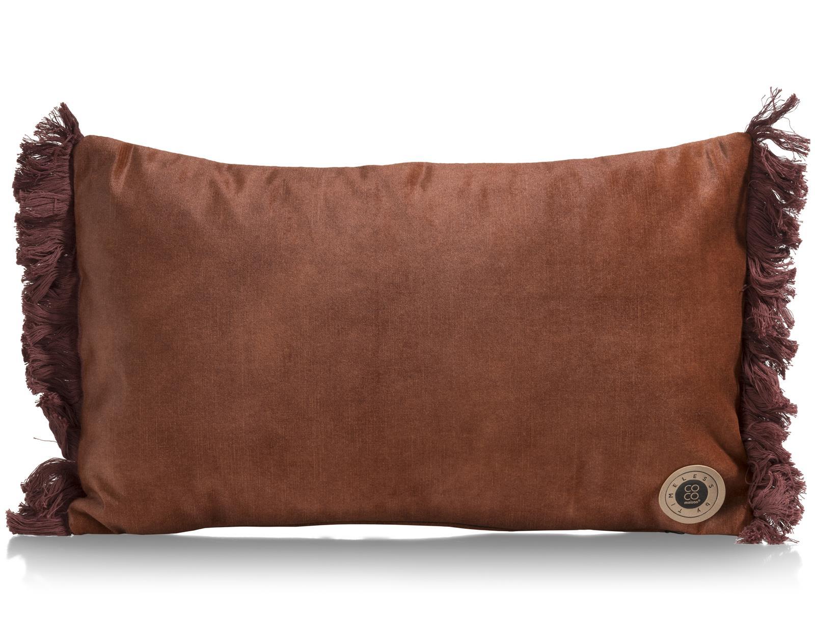 Coussin tendance et rectangulaire en tissu cuivre avec franges