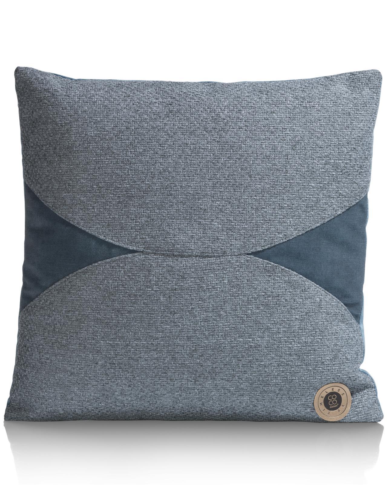 Coussin moderne bi-matière en tissu bleu