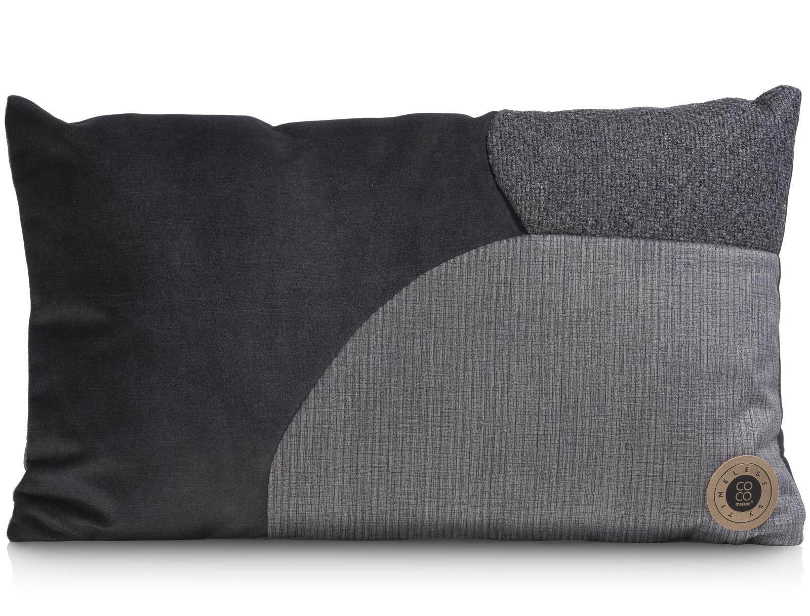 Coussin moderne rectangulaire en tissu gris anthracite